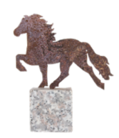 Decorative horse, rusted steel on granite rock.