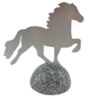 Decorative horse, stainless steel on polished granite stone